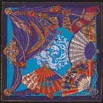 Theatre French Silk Scarf, Navy
