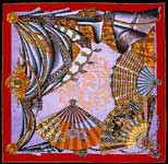 Theatre French Silk Scarf, Red